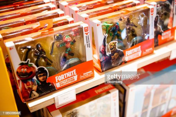 Epic Games Inc Fortnite figurines sit on display at a Toys R Us Inc store in Paramus New Jersey US on Tuesday Nov 26 2019 The new store in the Garden...