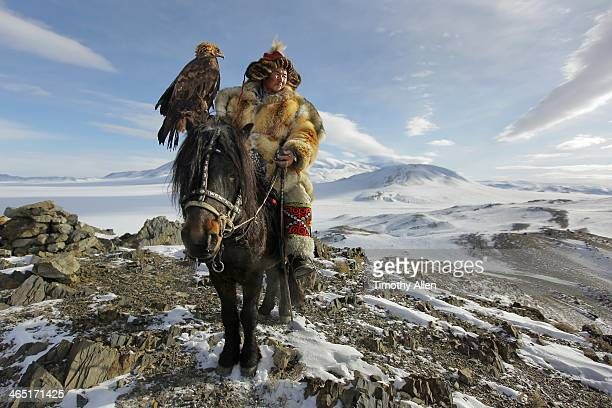 Epic Golden Eagle hunter on horseback
