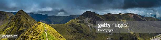 epic mountain landscape peak panorama ring of steall highlands scotland - grampian scotland stock pictures, royalty-free photos & images