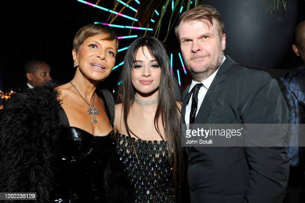 Epic Records CEO Chairwoman Sylvia Rhone Camila Cabello and Sony Music Group Chairman Rob Stringer attend the Sony Music Entertainment 2020...