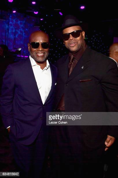 Epic Records CEO LA Reid and producer Jimmy Jam attend PreGRAMMY Gala and Salute to Industry Icons Honoring Debra Lee at The Beverly Hilton on...