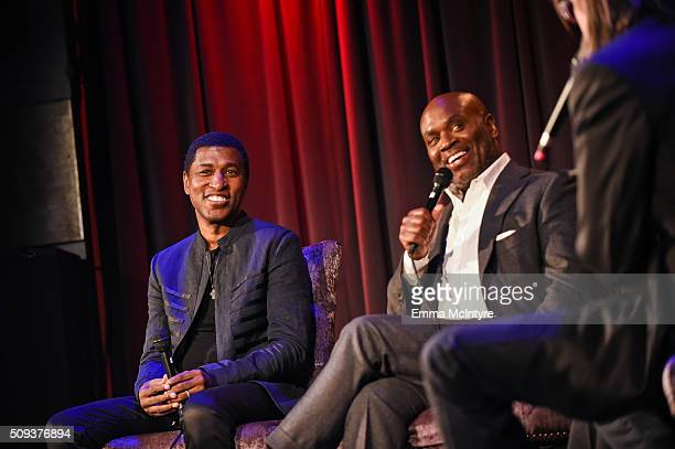 Epic Records CEO/Chairman LA Reid and Recording artist/producer Kenneth 'Babyface' Edmonds speak onstage with Vice President of the GRAMMY Foundation...