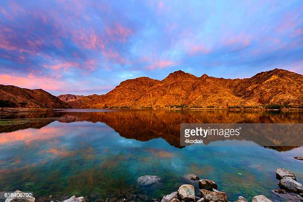 epic sunrise at colorado river near las vagas - hoover dam stock photos and pictures