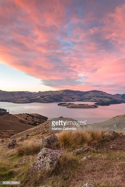 Epic sunrise over Littleton bay, Christchurch, New Zealand