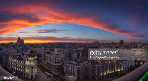 epic sunset over madrid - madrid stock pictures, royalty-free photos & images