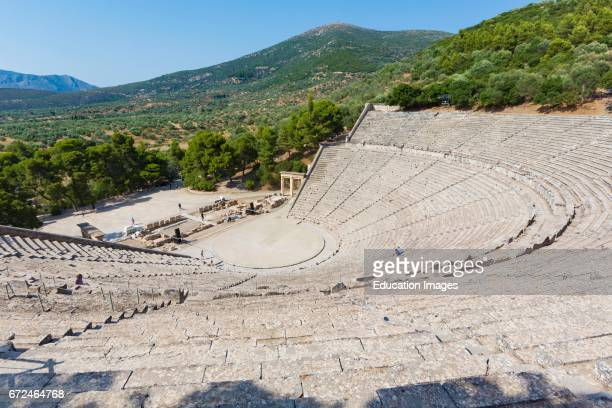 Epidaurus Argolis Peloponnese Greece The 14th century BC000 seat theatre designed by Polykleitos the Younger The original 34 rows were extended a...