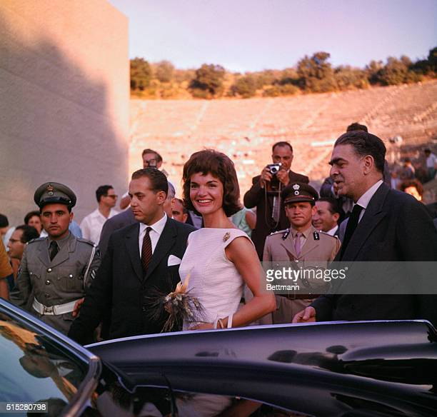 Mrs Jacqueline Kennedy is greeted at the Theater of Epidaurus by E Hourmouzios General Director of the Greek National Theater