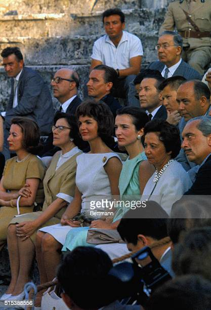 Seated in the Theater of Epidaurus watching a rehearsal of Sophocles' Electra are from left two unidentified women Mrs Jacqueline Kennedy her sister...