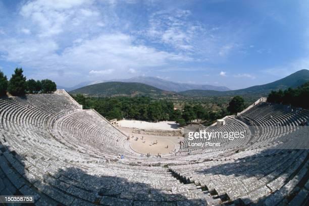 Epidaurus Theatre (4th Century BC) and surrounding countryside.