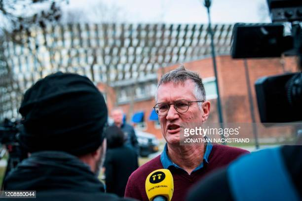 Epidemiologist Anders Tegnell of the Public Health Agency of Sweden is interviewed after a press conference to update on the COVID19 coronavirus...