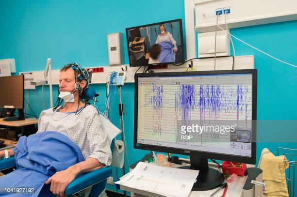 Epileptology unit Nice France Epilepsy diagnosis EEG of patient hospitalized following seizures The EEG measures cerebral electrical activity