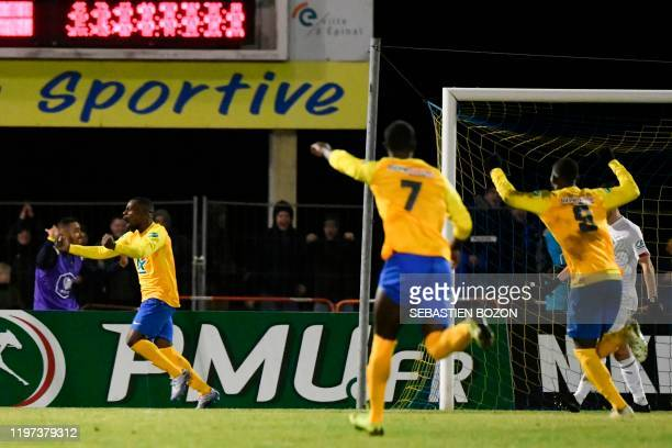 Epinal's French forward JeanPhilippe Krasso jubilates after scoring a goal during the French Cup roundof16 football match between Epinal and Lille at...