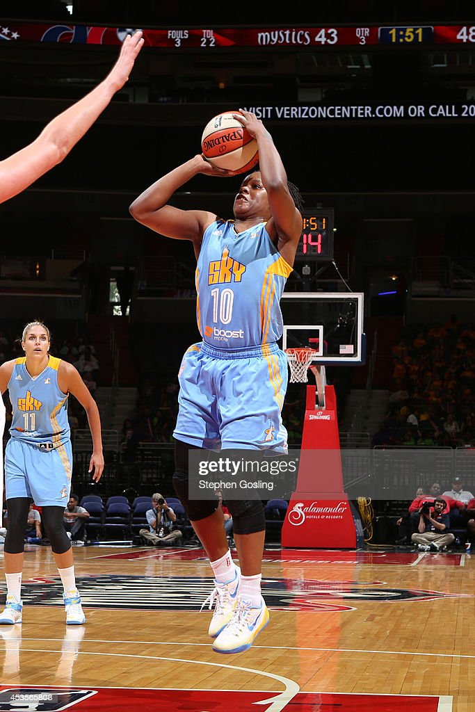 Epiphanny Prince #10 of the Chicago Sky shoots against the Washington Mystics at the Verizon Center on August 13, 2014 in Washington, DC.