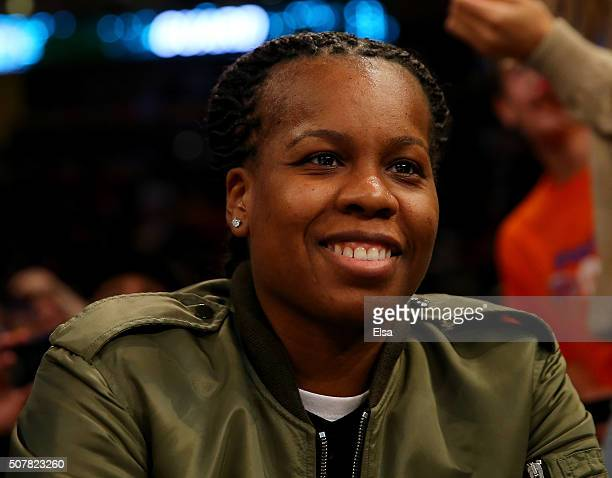 Epiphanny Prince of the New York Liberty attends the game between the New York Knicks and the Golden State Warriors at Madison Square Garden on...