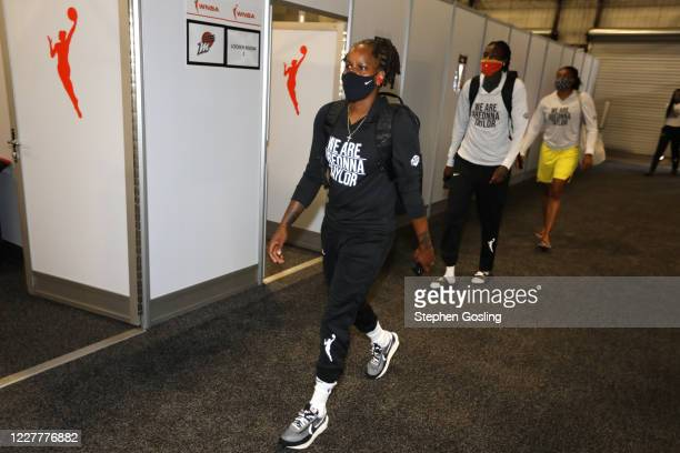 Epiphanny Prince of the Seattle Storm arrives prior to the game against the New York Liberty on July 25, 2020 at Feld Entertainment Center in...