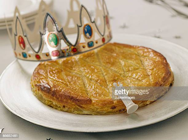 Epiphany King's Cake with crown and figurine