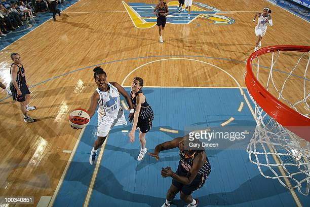 Epiphany Prince of the Chicago Sky shoots against Allie Quigley of the Indiana Fever during the WNBA game on May 22 2010 at the AllState Arena in...