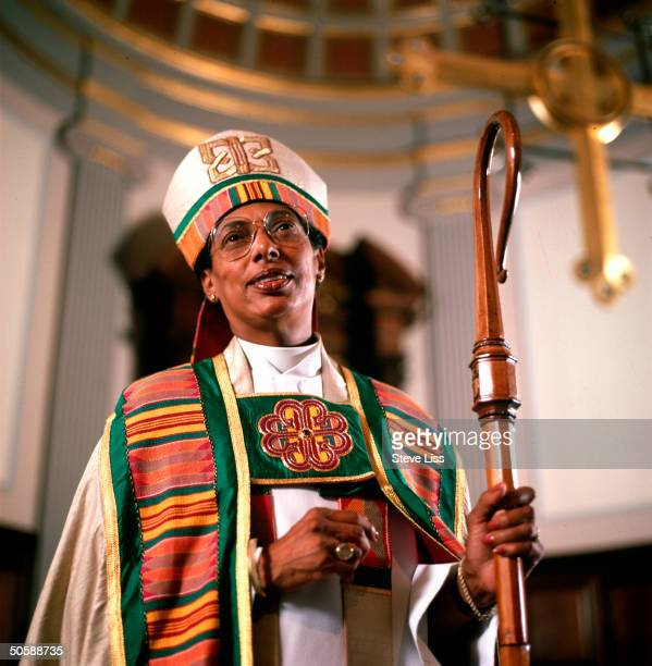 Episcopal Bishop Barbara Harris w miter staff