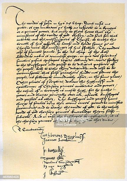 Episcopal Declaration of Archbishop Crammer and seven other English bishops c1537 Declaration recognizing the authority of Christian Princes in...