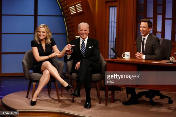 Actress Amy Poehler and Vice President Joe Biden during an interview with host Seth Meyers on February 24 2014