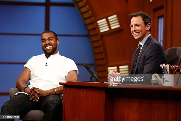 Hip hop artist Kanye West during an interview with host Seth Meyers on February 25 2014