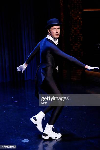 Actor Will Ferrell shows off his ice skating routine on February 20 2014