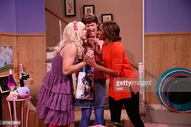 Host Jimmy Fallon actor Will Ferrell First Lady Michelle Obama during the 'Ew' skit on February 20 2014