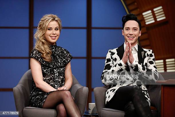 Olympic figure skaters Tara Lipinski and Johnny Weir during an interview with host Seth Meyers on March 7 2014
