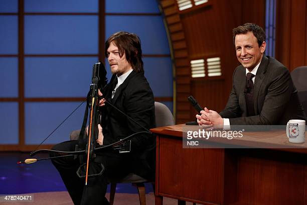 Actor Norman Reedus during an interview with host Seth Meyers on March 12 2014