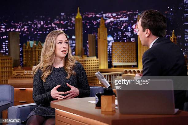 Chelsea Clinton during an interview with host Jimmy Fallon on March 20 2014