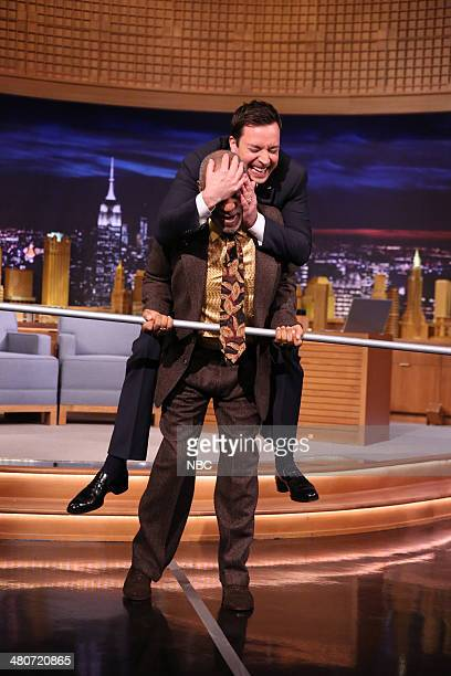 Comedian Bill Cosby walks a tightrope with a little help from host Jimmy Fallon on March 26 2014