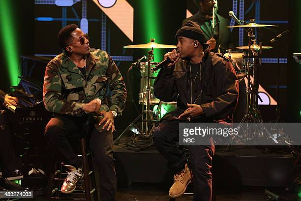 Musical guest Nas featuring QTip performs on April 7 2014