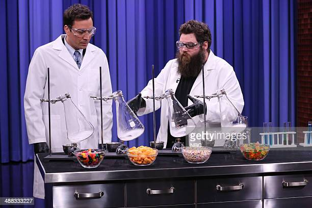 Host Jimmy Fallon and scientist Kevin Delaney perform experiments on May 5 2014
