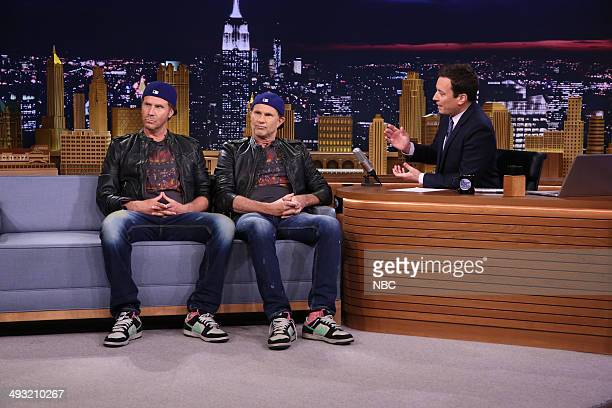 Actor Will Ferrell and drummer Chad Smith during an interview with host Jimmy Fallon on May 22 2014