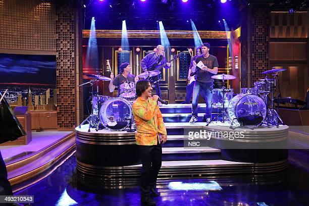 Chad Smith Anthony Kiedis Flea Josh Klinghoffer and actor Will Ferrell perform on May 22 2014