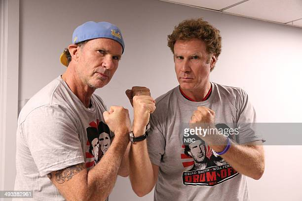 Drummer Chad Smith and actor Will Ferrell pose backstage on May 22 2014