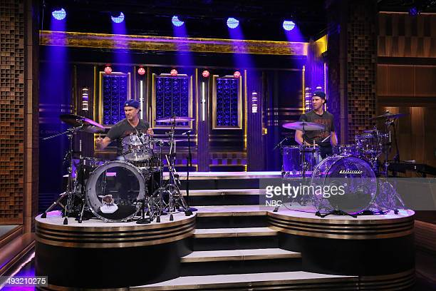 Drummer Chad Smith competes in a drumoff with actor Will Ferrell on May 22 2014