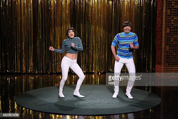 "Episode 0071 -- Pictured: Singer Jennifer Lopez and host Jimmy Fallon during the ""Tight Pants"" skit on June 9, 2014 --"