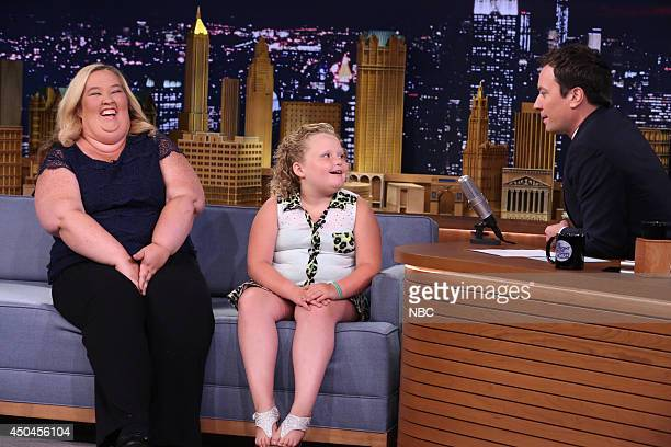 Episode 0073 -- Pictured: Television personalities Mama June and Honey Boo Boo during an interview with host Jimmy Fallon on June 11, 2014 --