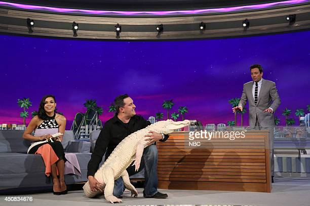 Actress Rosario Dawson and animal expert Jeff Musial during an interview with host Jimmy Fallon on June 18 2014