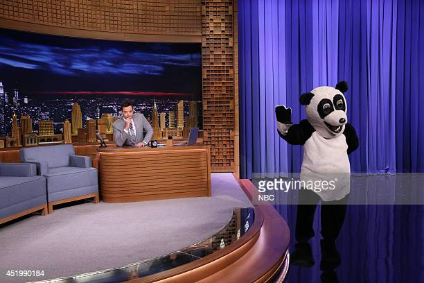 Host Jimmy Fallon and Hashtag the dancing panda on July 10 2014