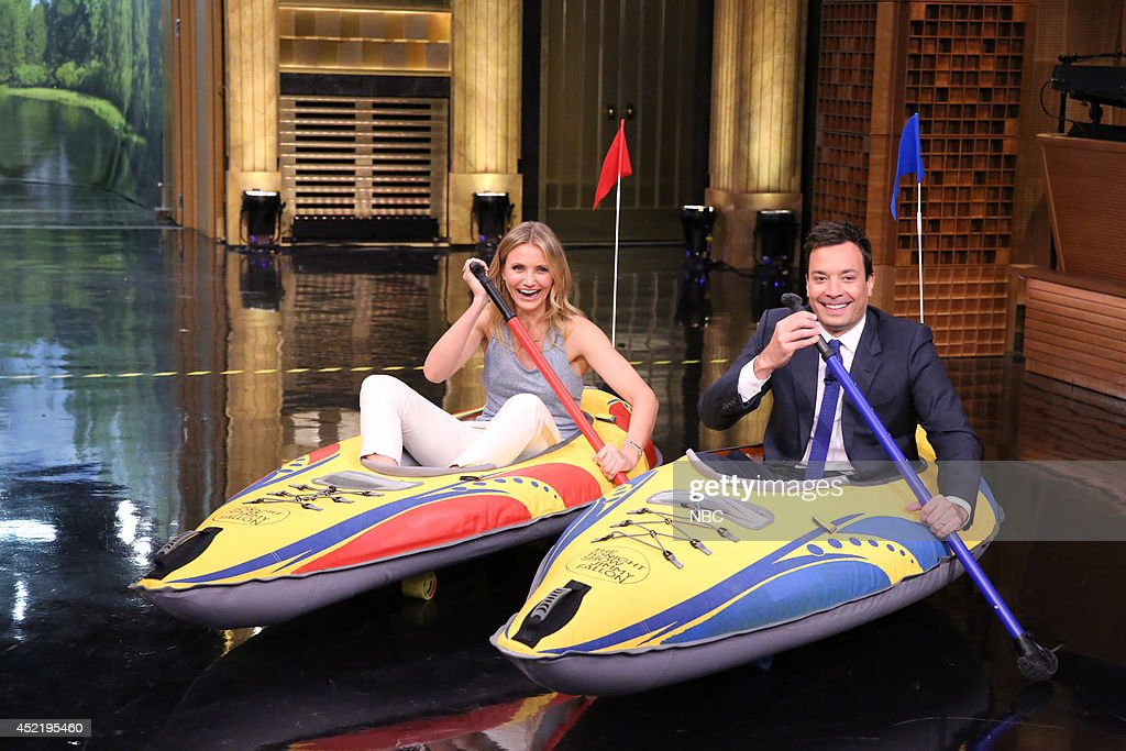 Actress Cameron Diaz during a kayak race with host Jimmy Fallon on July 15, 2014 --