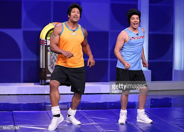 Actor Dwayne Johnson and host Jimmy Fallon during the Pomanti Brothers Fitness Video skit on July 22 2014