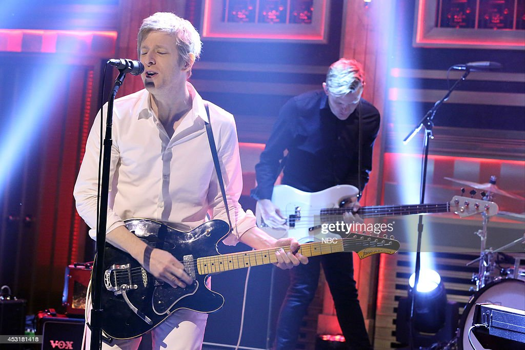 Britt Daniel and Rob Pope of musical guest Spoon perform during the 100th episode of the 'Tonight Show Starring Jimmy Fallon? on August 4, 2014 --