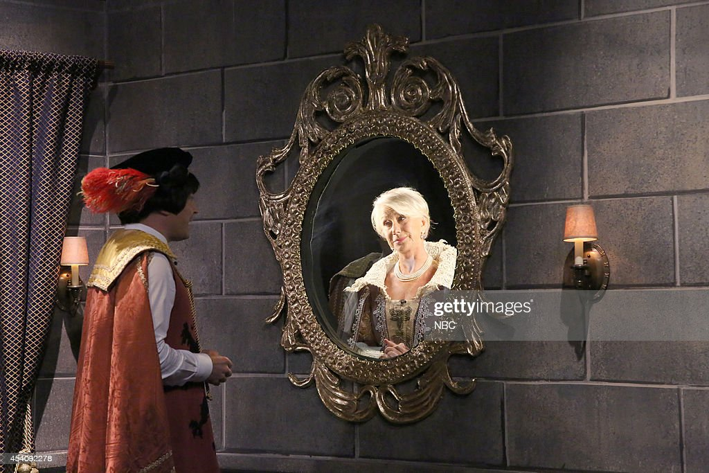 Host Jimmy Fallon and actress Helen Mirren during the 'Mirror Mirror' skit during the 100th episode of the 'Tonight Show Starring Jimmy Fallon? on August 4, 2014 --