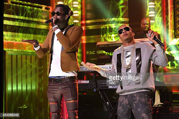 Musical guest TI performs with Young Thug and The Roots on August 7 2014