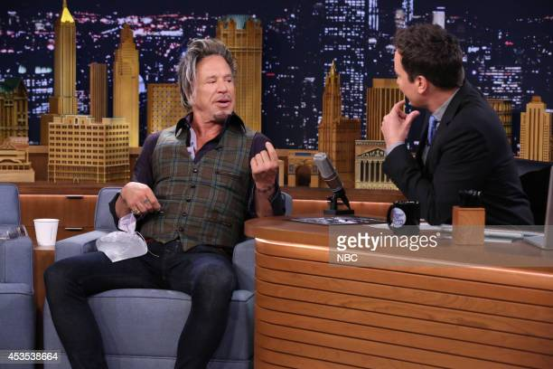 Actor Mickey Rourke during an interview with host Jimmy Fallon on August 12 2014