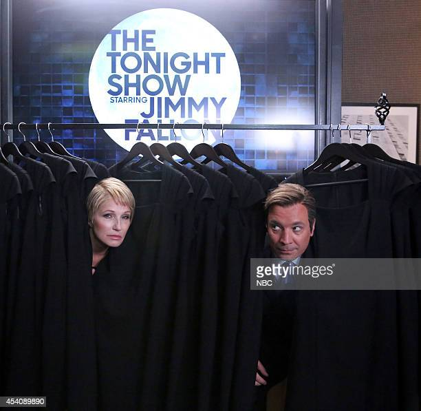 """Episode 0106 -- Pictured: Ellen Barkin and Jimmy Fallon during the """"House of Cue Cards"""" skit on on August 12, 2014 --"""