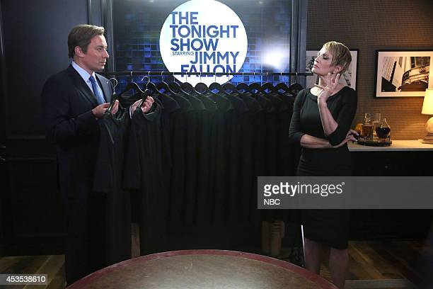 """Episode 0106 -- Pictured: Jimmy Fallon and Ellen Barkin during the """"House of Cue Cards"""" skit on on August 12, 2014 --"""