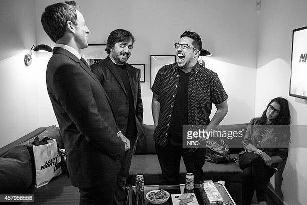 Host Seth Meyers talks with Impractical Jokers Brian Quinn and Salvatore Vulcano on October 7 2014